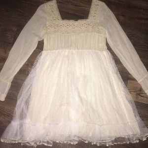 Free People Tulle Crochet Long Sleeve Ivory Cream